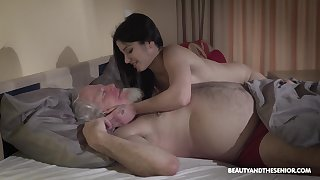 Young wifey Emily Brix is lust after lovemaking with old husband at the crack thither the morning