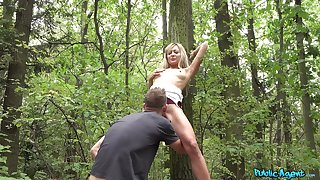 POV sex into the woods for this skinny Czech teen