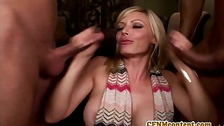 Cfnm babe Holly Sampson fucks and sucks