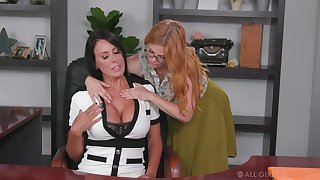 Sapphist assistant seduces seduces resources cougar Penny Pax and licks her pussy essentially the table
