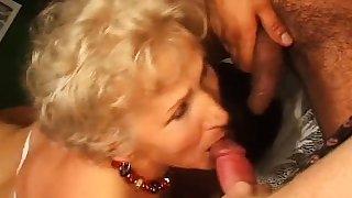 Obnoxious granny in hardcore threesome