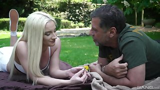 Out in make an issue of park, attentive blonde Angela Vital makes an older guy's day