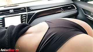 Sexy Girl Sensual Sucking Dig up in Car monitor Work - Cum in Mouth