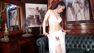 Mature Asian amateur Kim in white stockings and lingerie having fun