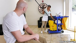 Cleaning babe is set to devour some fitted dick this time