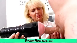 Blonde lady doctor Koko old on touching young CFNM exam and handjob
