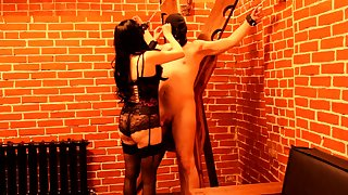 Mistress Tortures Slave: Electric Current, Spanking, Anal Plug, Footfetish