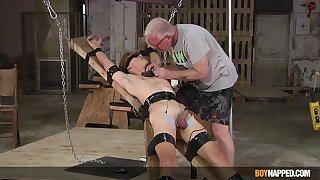 Submissive twink endures senior cock BDSM