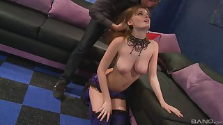 Hot busty redhead filmed doing all sorts of perversions
