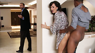 Spouse returned when housewife rails BIG Inky COCK