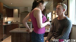 Saleable mommy Lara Jade Deene seduces stepson added to bangs him in the kitchen