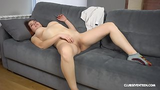Solo beauty works her pussy encircling charming manners