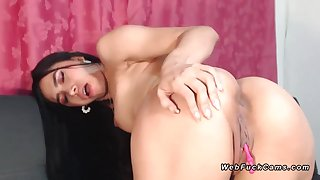 Beautiful brunette toddler alongside black fishnet stockings with remopte controlled vibrator
