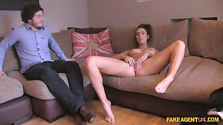 Clumsy couple goes together to a porn casting coupled with they film a threesome