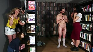 Library Ambush - cfnm group femdom orgy wide facial cumshot