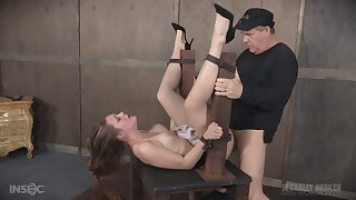 Slave girl Nora Riley in miniskirt fucked in her pussy and ass