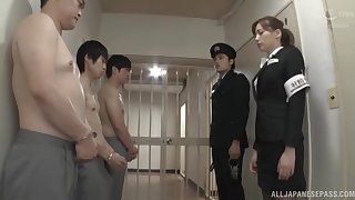 In the buff Japanese guys enjoys getting a blowjob by sexy Aine Maria