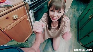 Wife kneels to the fore dick and amazes with hos slutty she can fuck