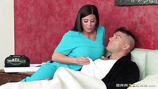 Nurse Alexa Pierce at hand sexy uniform sucks a dick and rides him hard